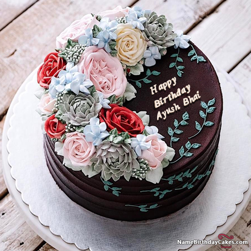 The Name Ayush Bhai Is Generated On Happy Birthday Images