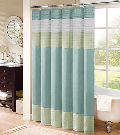 Color Your Master Bath Amazing When You Hang This Beautifully Styled  Chester Faux Silk Shower Curtain From Madison Park. A Pastel Design In  Shades Of Aqua, ...