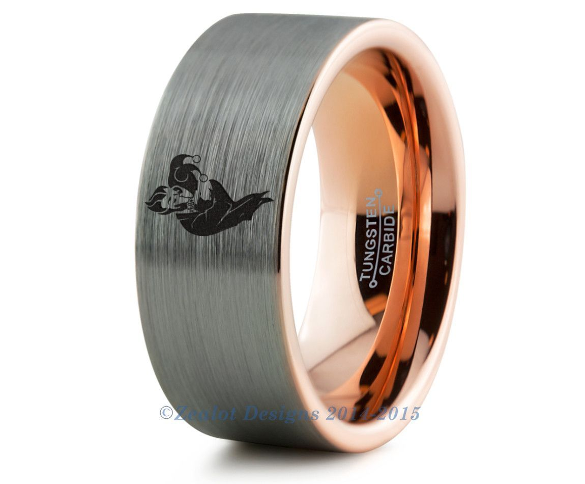 harley quinn wedding ring Joker Harley Quinn Tungsten Wedding Band Ring Mens Womens Brushed 18k Rose Gold Fanatic Geek Anniversary