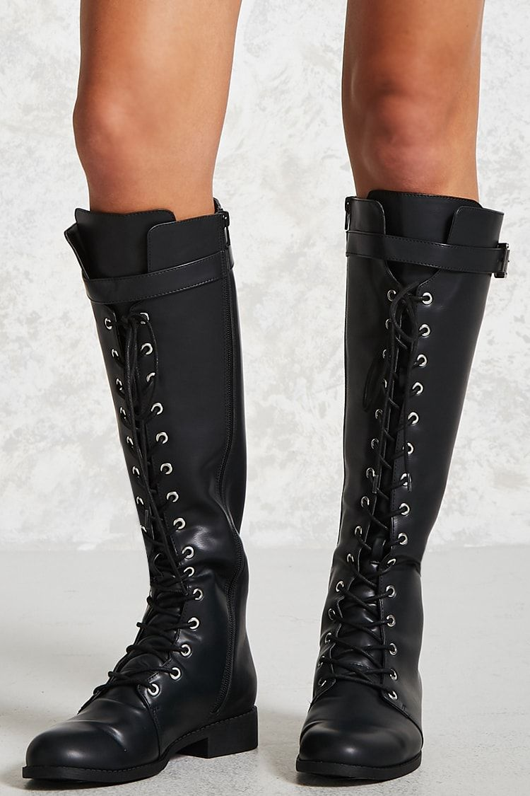 Knee High High Knee Combat Stiefel By Forever 21 A pair of faux Leder knee eec8ce