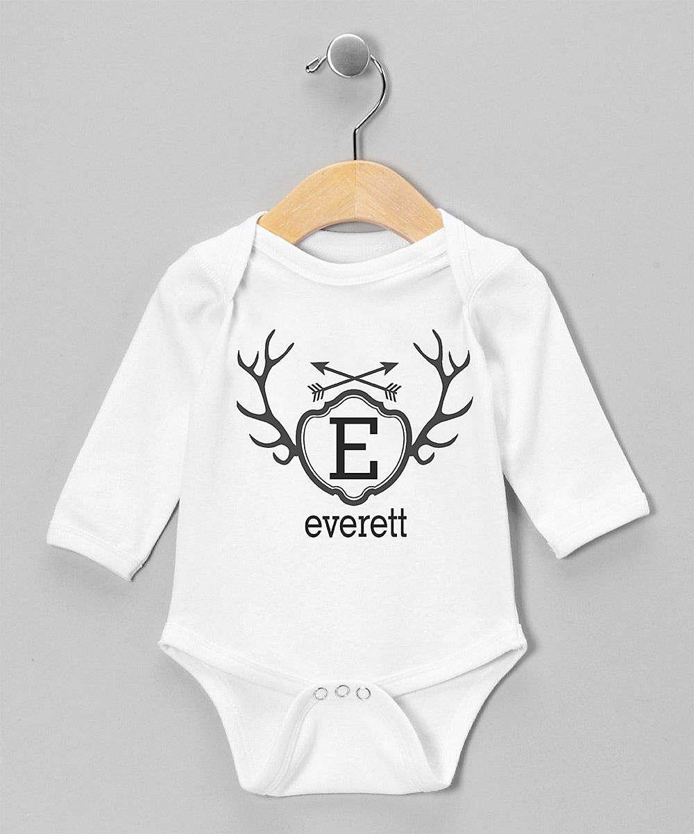 White & Black Antler Shield Personalized Bodysuit - Infant
