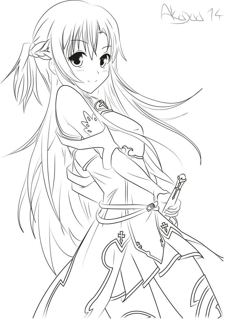 Asuna yuuki sword art online lineart by akayaa gals for Online anime coloring pages