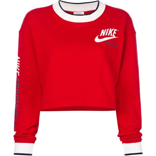 Nike cropped sweatshirt ( 75) ❤ liked on Polyvore featuring tops, hoodies,  sweatshirts, red, red crewneck sweatshirt, short crop tops, ... 46e0472935ff