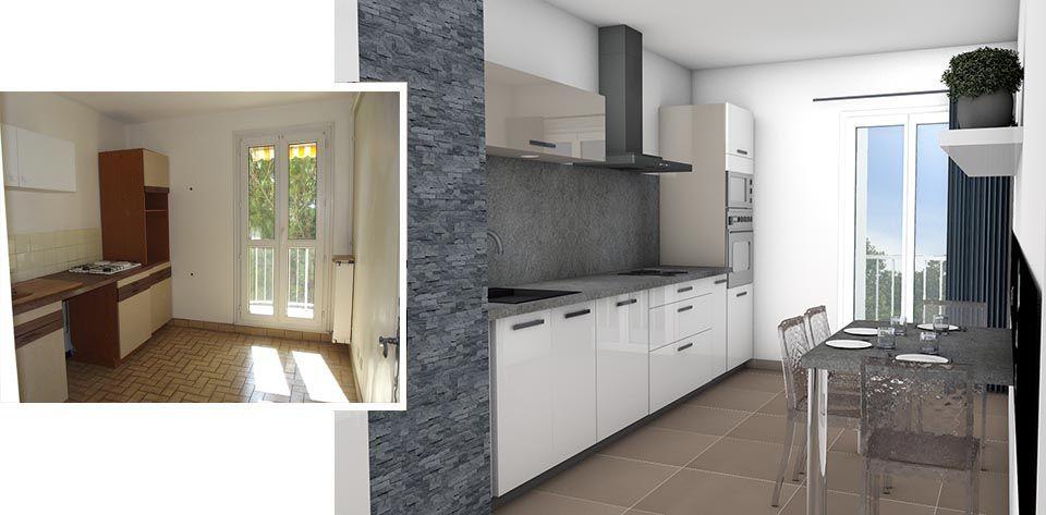 Avant   Projet 3D cuisine blanc laqué et pierre naturelle La 3D au