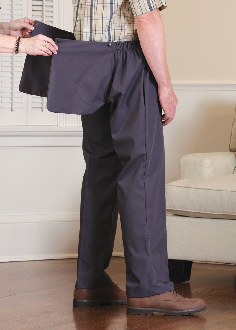 76eb93a073241 Men's Twill Back-Flap Pants   For the gentleman who would like to continue  wearing