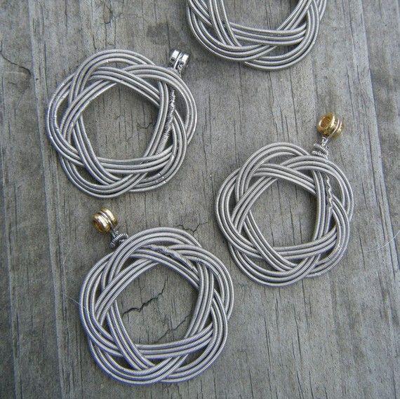 guitar string pendant thin silver color diy guitar string jewelry guitar strings guitar. Black Bedroom Furniture Sets. Home Design Ideas