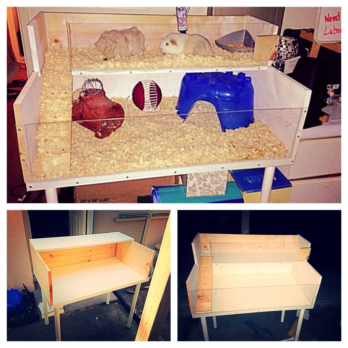 Diy guinea pig cage with an ikea desk ikea shelf and for Guinea pig accessories diy