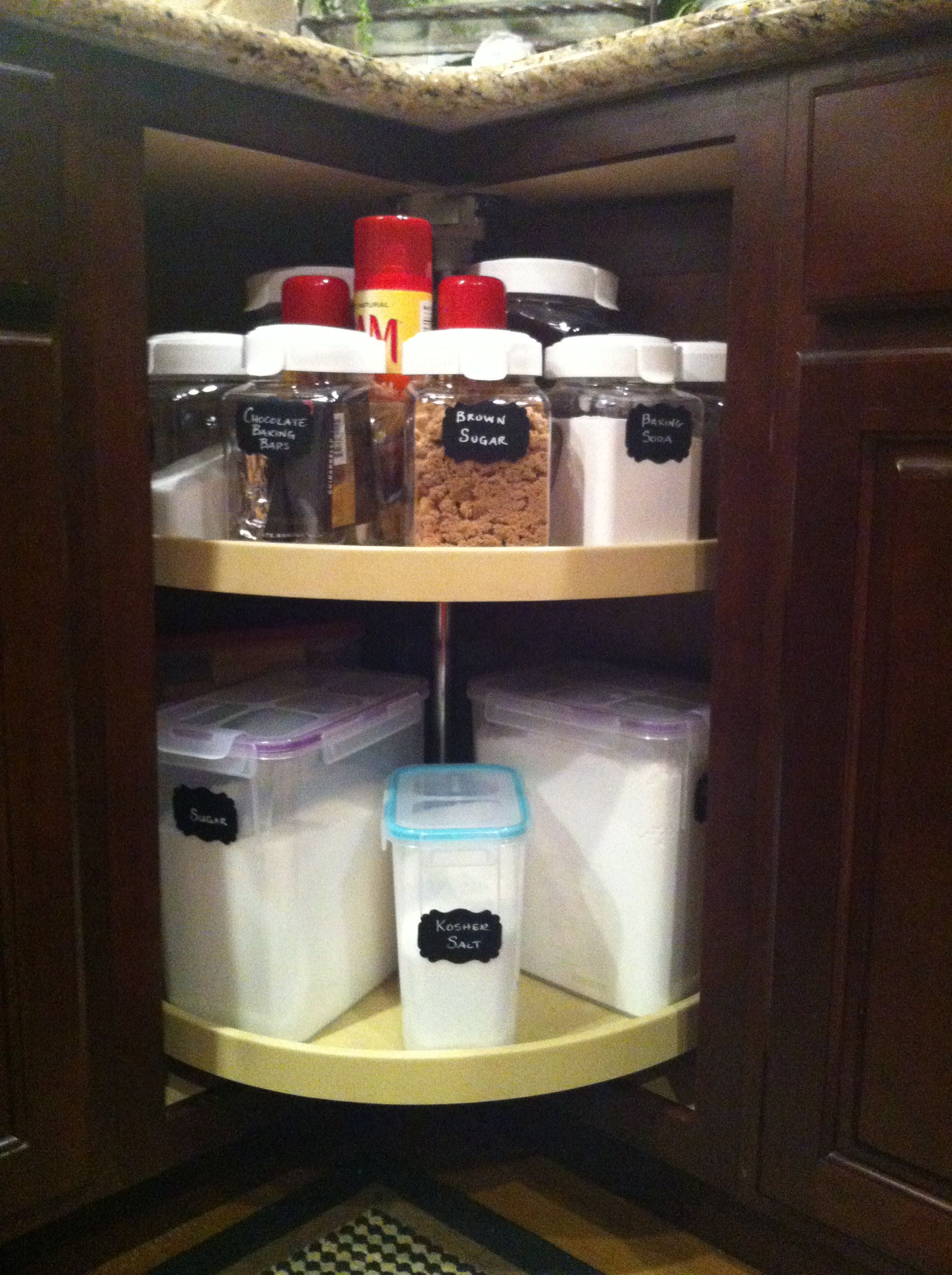 Lazy Susan Organized Using Ideas From Pinterest Kitchen Cabinet Organization Cabinet Organization Diy Diy Kitchen Cabinets