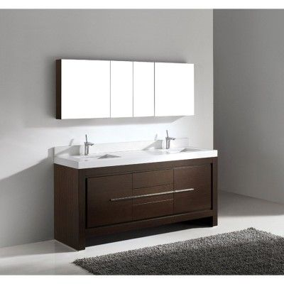 Wide Walnut Madeli Vicenza 72 inch Double Bathroom Vanity with ...