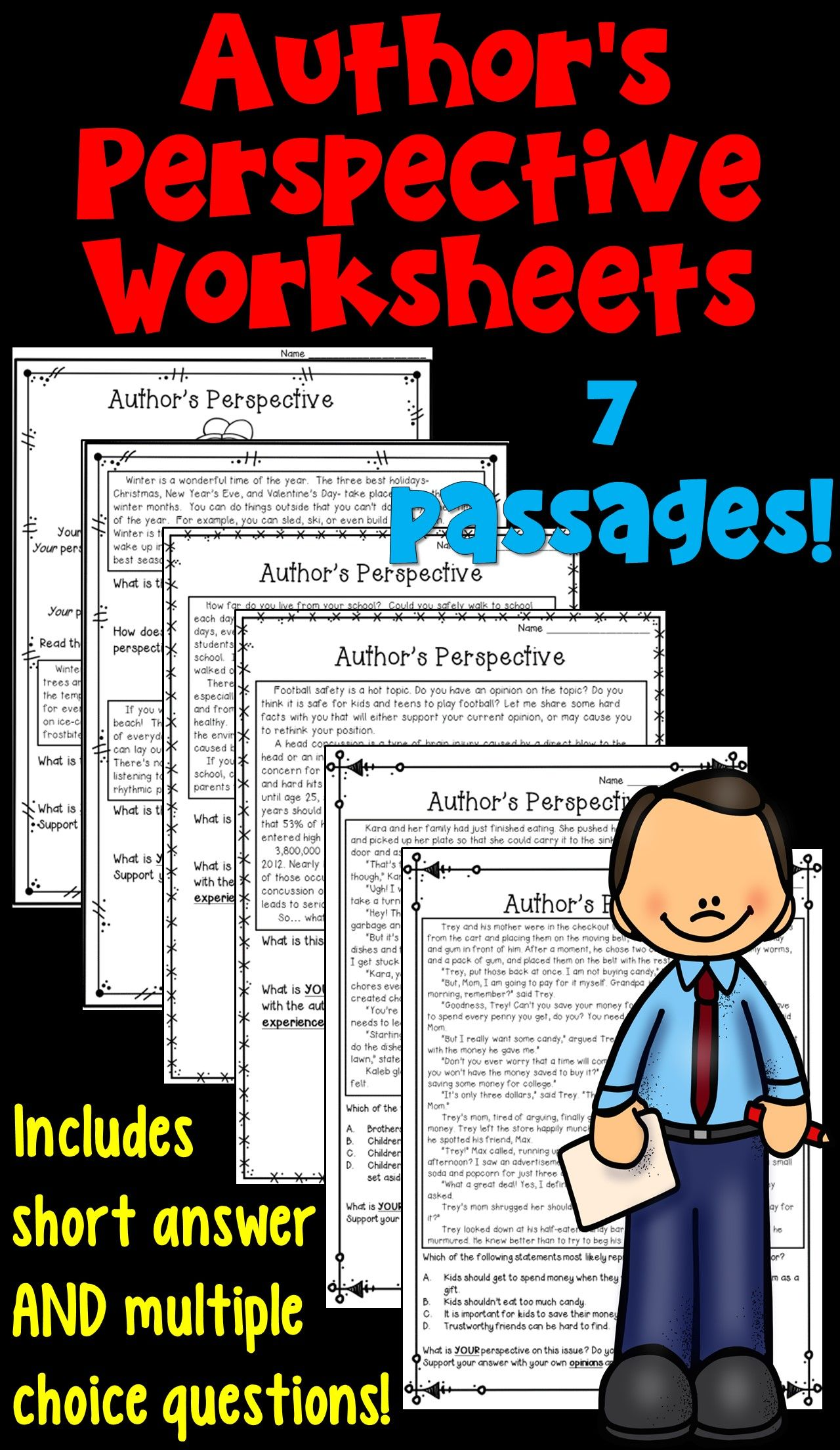 Author S Perspective 6 Worksheets With Images Authors