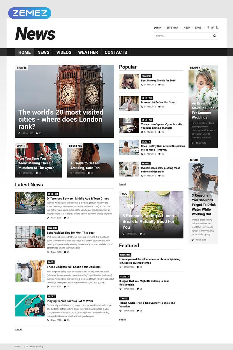 News Portal Responsive Joomla Template Affiliate Portal News Responsive Template News Web Design Web Design Websites Web Design
