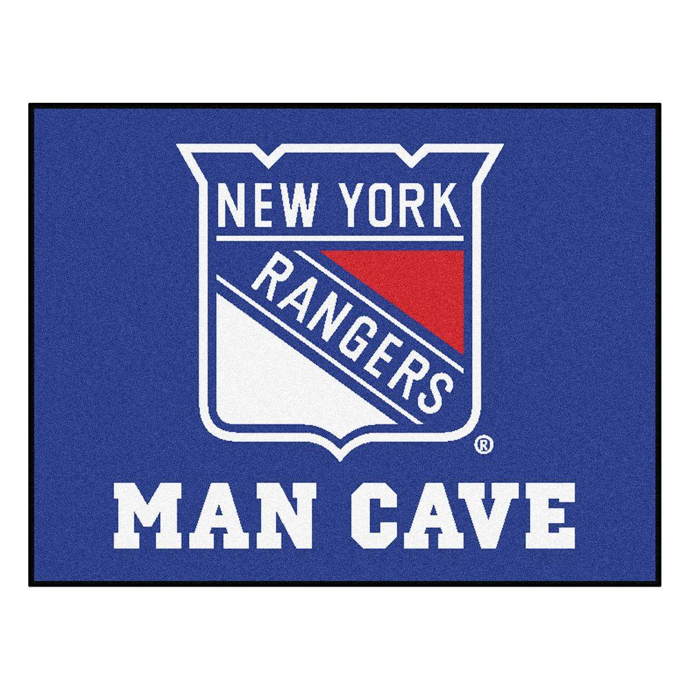 New York Rangers Blue Man Cave 2 ft. 10 in. x 3 ft. 9 in. Accent Rug