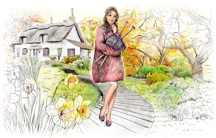Иллюстрация для рекламы вязальных ниток. Крупнее: https://www.behance.net/gallery/29036827/Fairy-Tale-Knits-