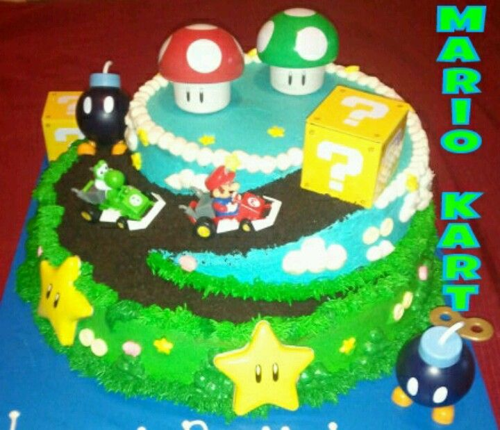 Mario Kart Cake 2 Tiers With Buttercream Frosting With Crushed