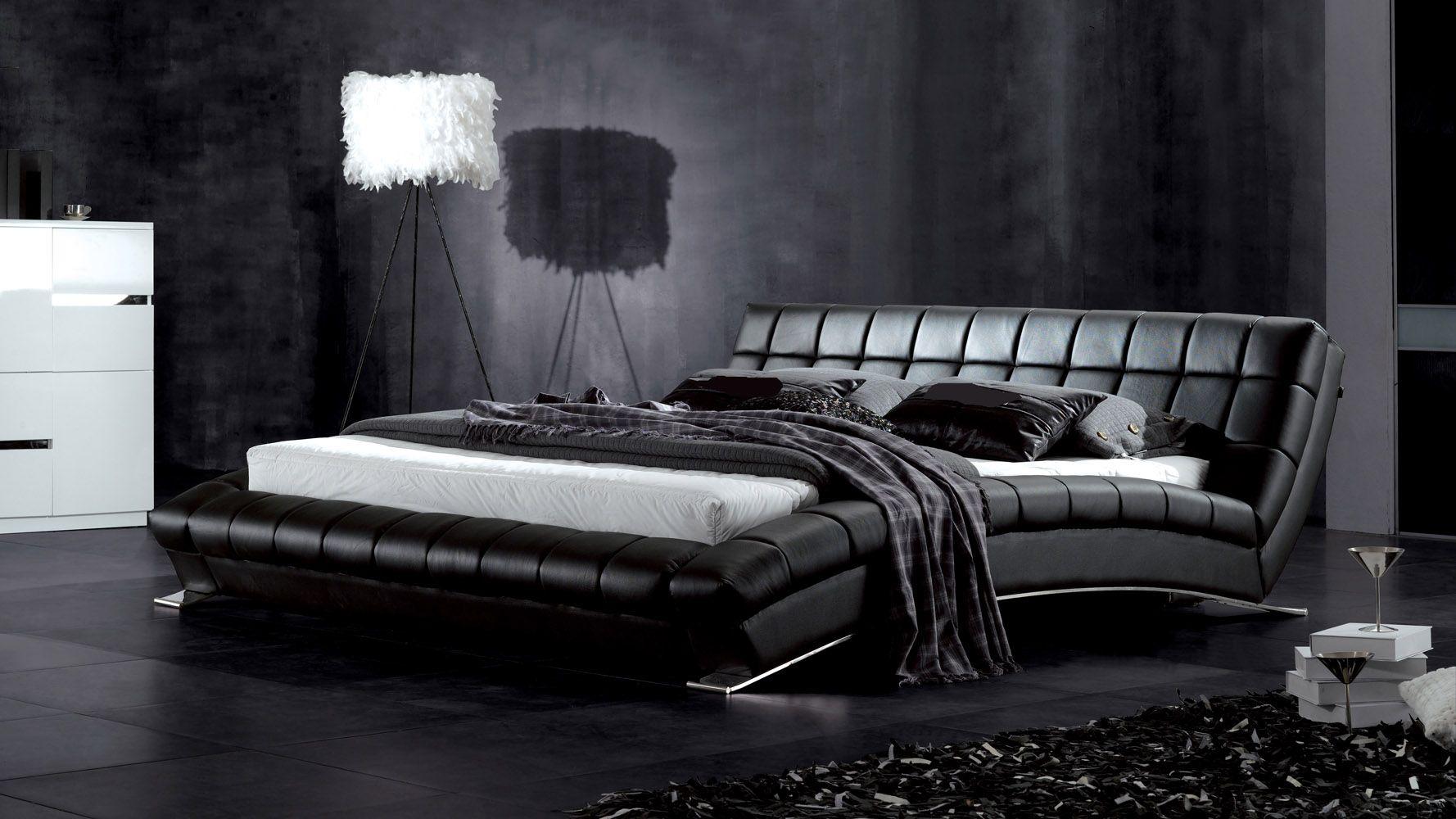 Black Leder Plattform Rahmen Schlafzimmer Design Holz Weiss Faux