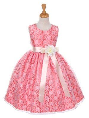 9349685f729 Coral Pick Your Ribbon Sash Elegant Lace Flower Girl Dress