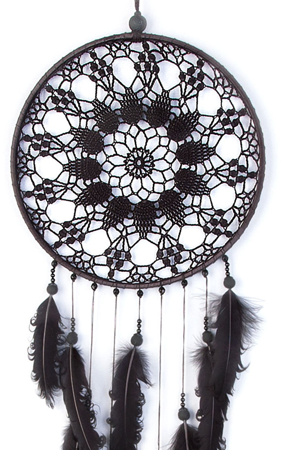 Large Black Dream Catcher, Crochet Doily Dreamcatcher, large ...
