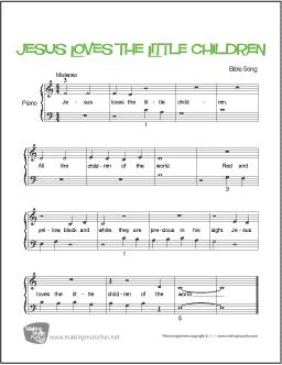 Jesus Loves The Little Children Beginner Piano Sheet Music