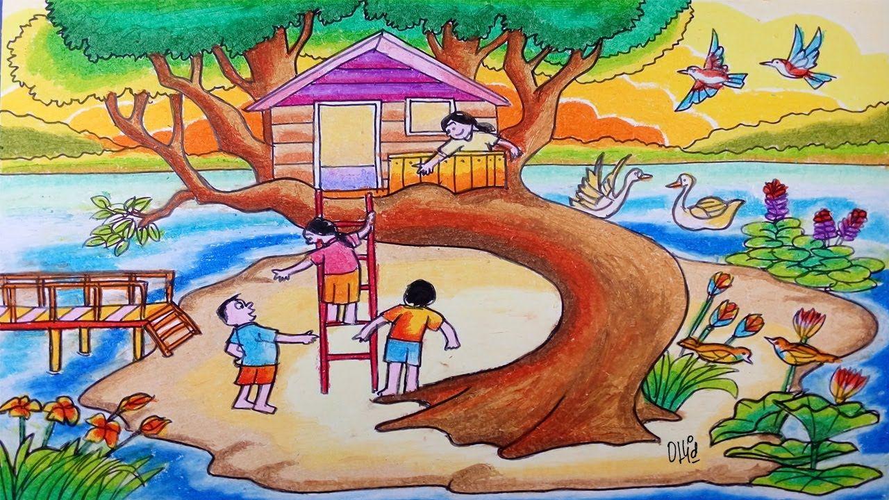 Cara Menggambar Rumah Pohon Anak Anak Bermain Dan Pemandangan