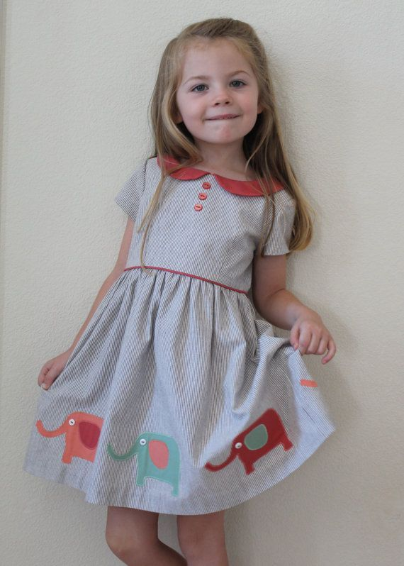 NEW Girls Children/'s Toddler Summer Party Cotton Layered Elephant Dress