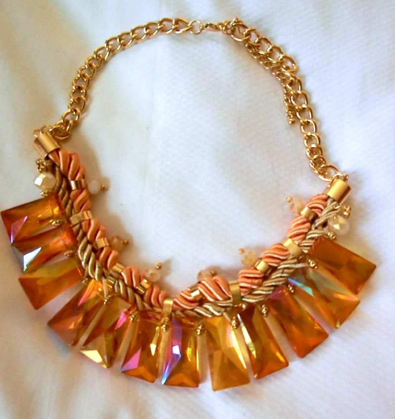 NEW FUN AMAZINGLY ELEGANT TIERED LIGHT COPPER PEACH BIB STATEMENT NECKLACE - USA - Necklaces & Pendants