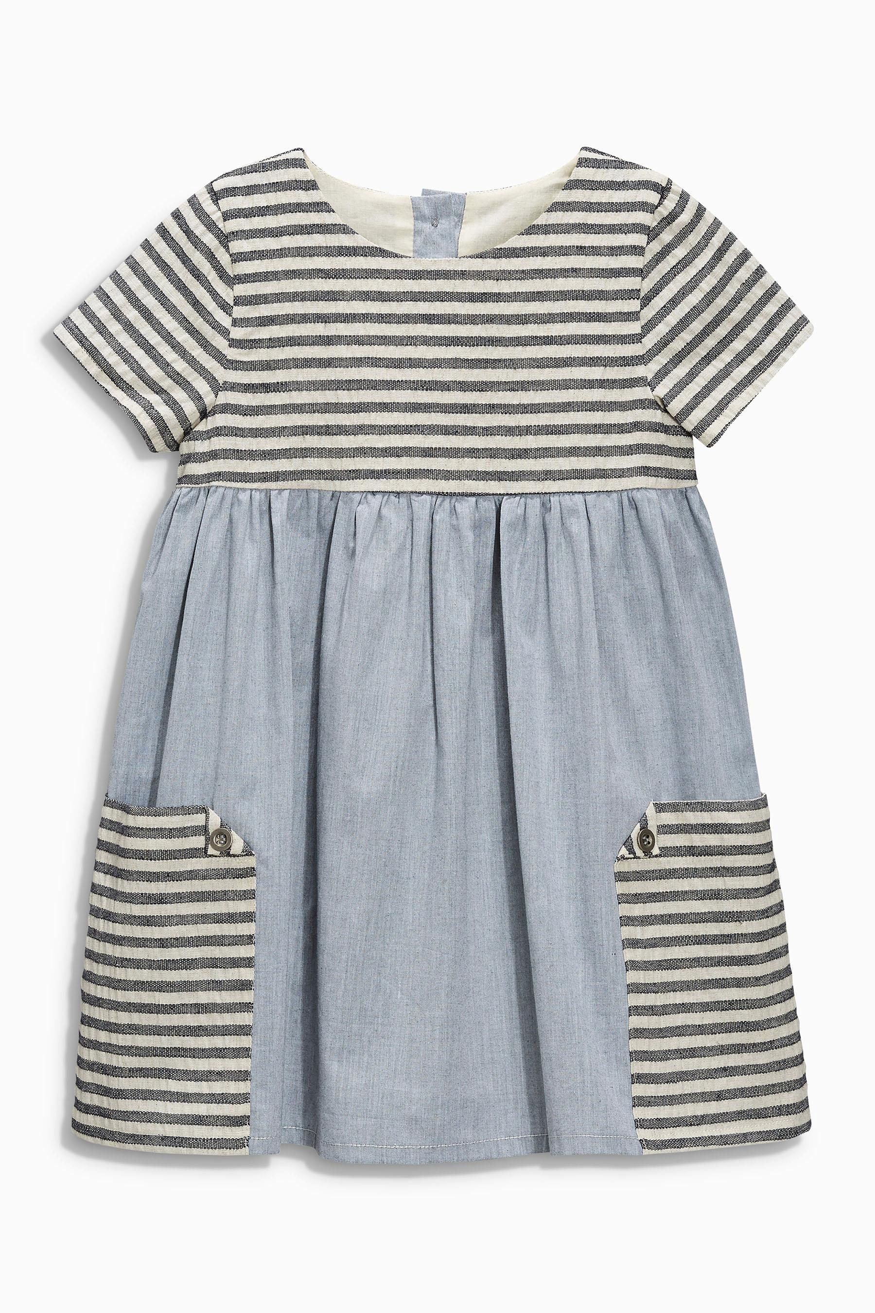 buy denim stripe pocket dress (3mths-6yrs) from the next uk