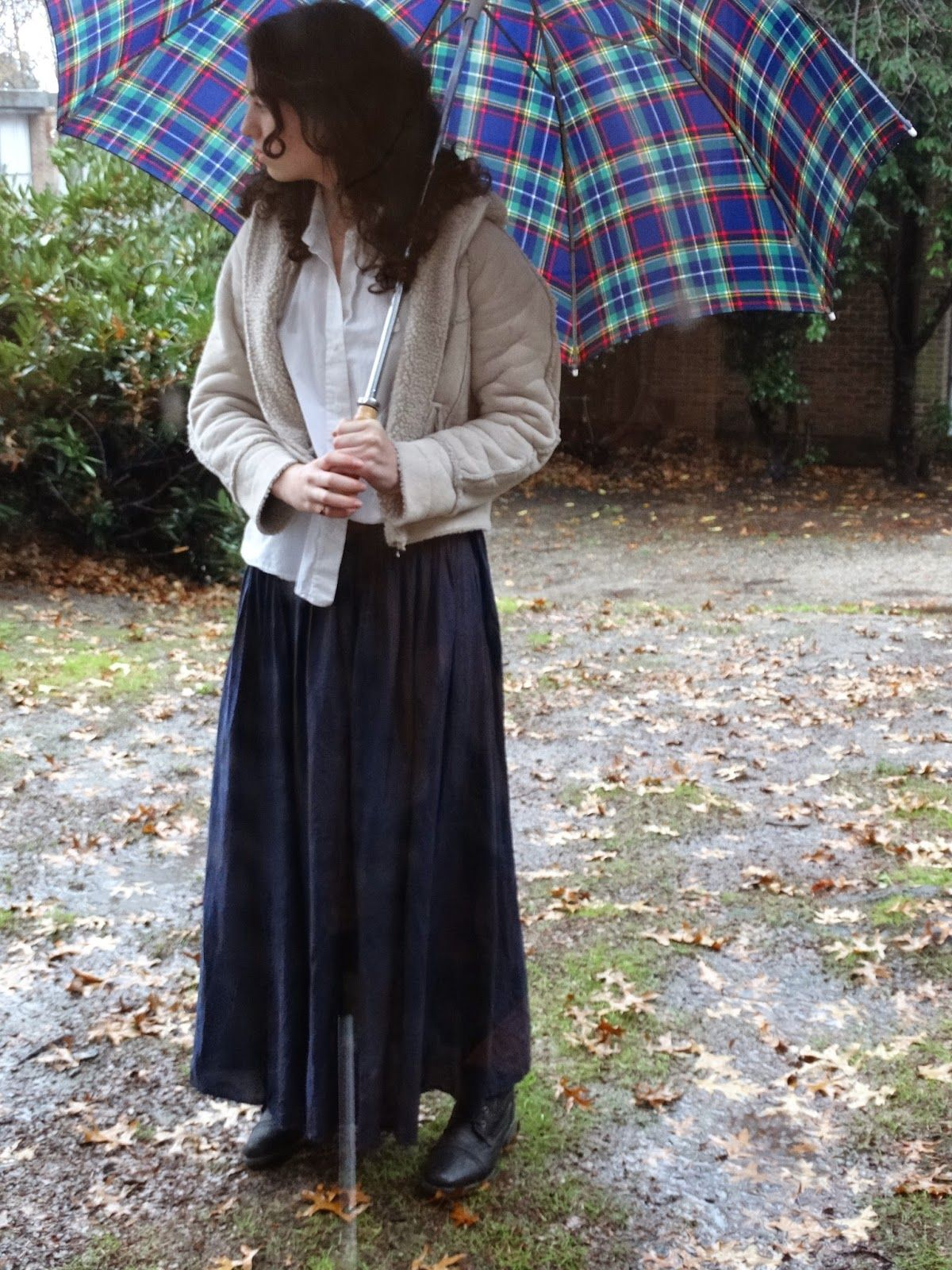 How to wear a maxi dress in fall/winter! Adore the jacket and the umbrella is so chic. xx