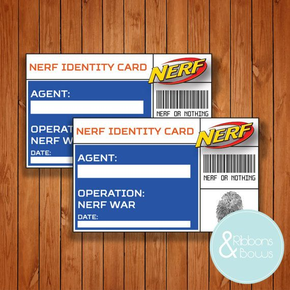 Nerf Printable ID Card Print At Home Pdf \ Jpeg Instant marcos - id card