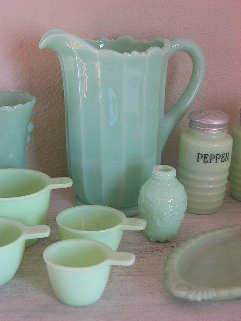 I Love Vintage Green Milk Gl