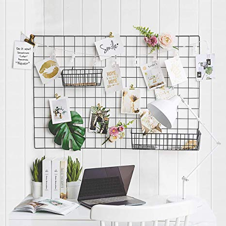 Amazon Com Gbyan Grid Wall Panel Decorative Iron Rack Clip Photo Holder Painted Wire Photograph Hanging Pict Photo Wall Decor Hanging Pictures Hanging Photos