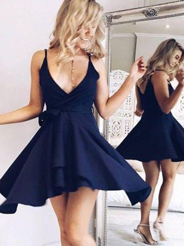 Simple A Line V Neck Navy Blue Short Homecoming Dresses with Ruffles #navyblueshortdress