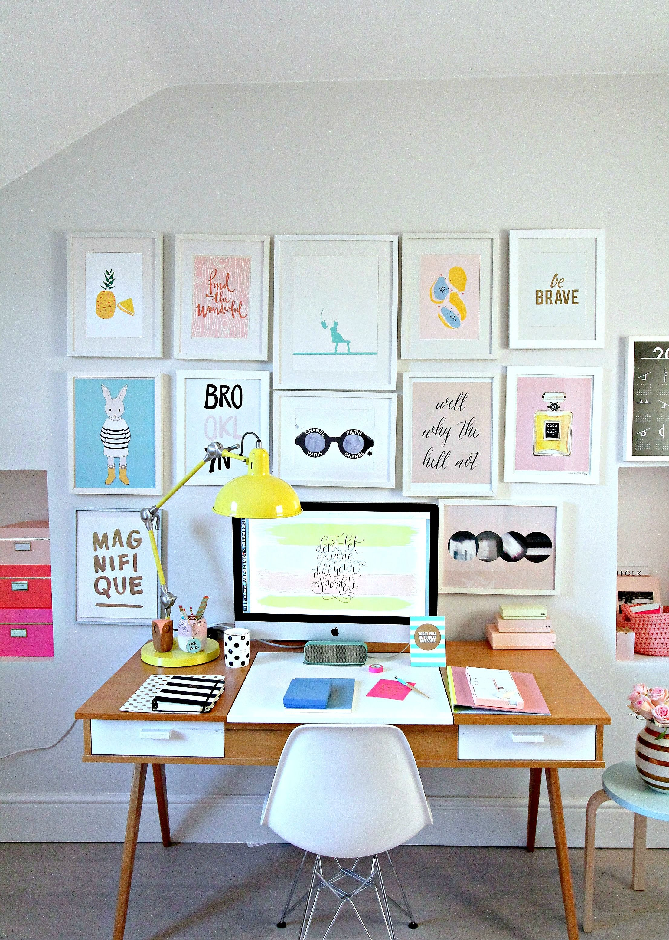 My colourful workplace wall gallery and a collaboration with Pinch Me Moments.