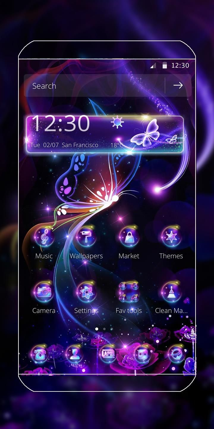 Dazzling neon butterfly theme! Phone themes, Butterfly