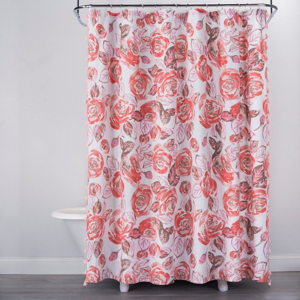 Rose Print Shower Curtain Disco Brown Opalhouse Adult Unisex