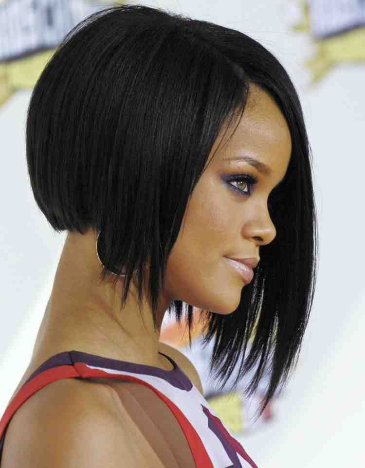 The Modern Bob Hairstyles With A Line Short Back Long Front Front Hairstyles Modern Short Bob Haircut Black Hair Rihanna Short Hair Rihanna Hairstyles