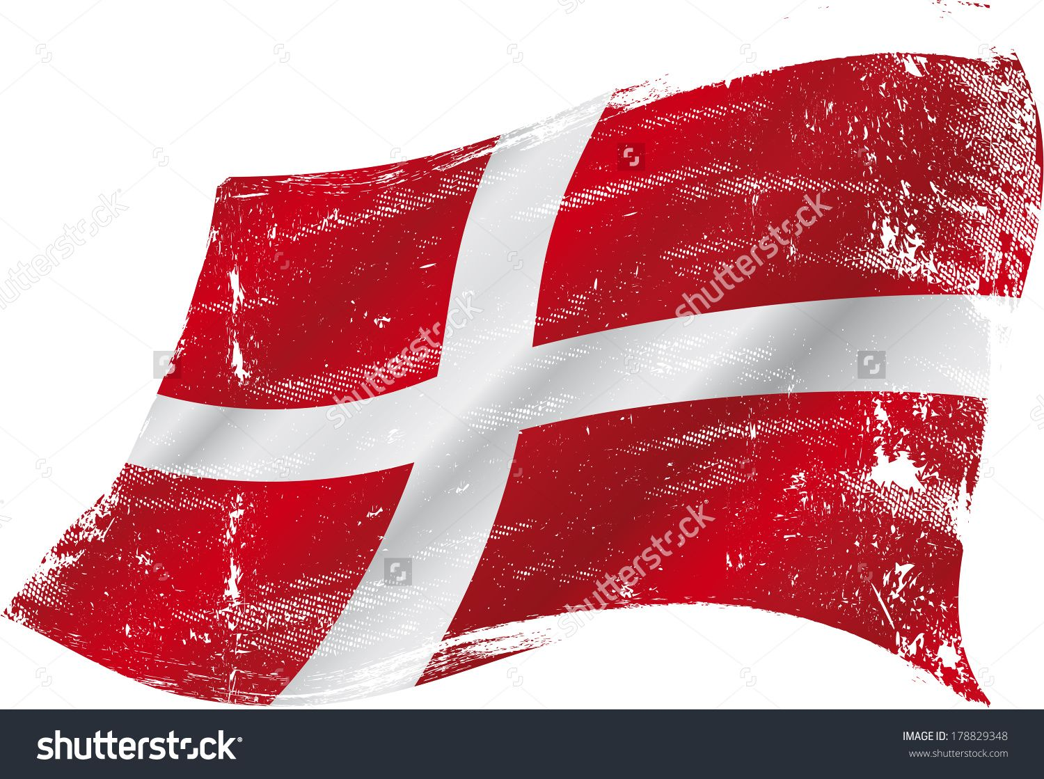 stock vector flag of denmark in the wind with a texture 178829348