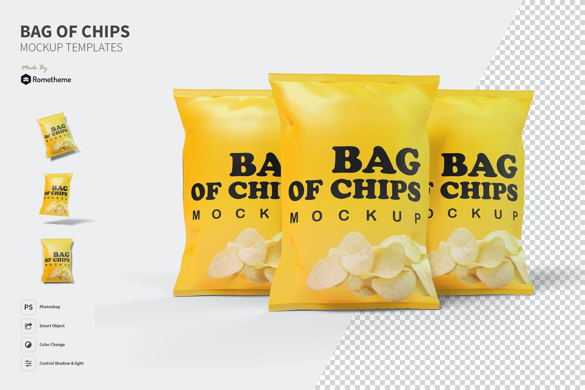 Download Bag Of Chips Mockup Psd Chip Bags Bottle Mockup Dropper Bottles