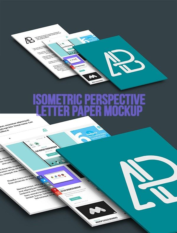 Free Isometric Perspective Letter Paper Mockup Mockup - free isometric paper
