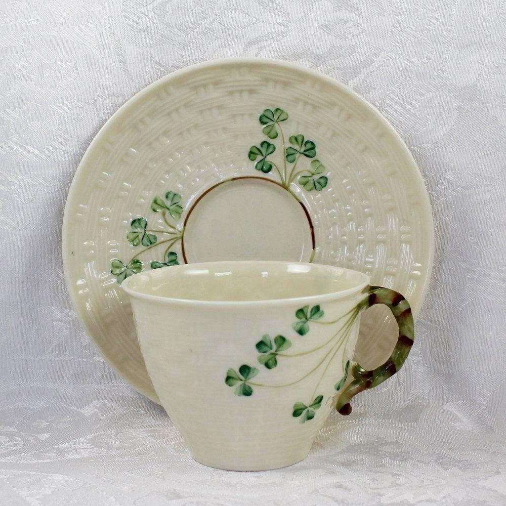 Belleek Irish China Basketweave Shamrock Pattern Tea by scdvintage & Belleek Irish China Basketweave Shamrock Pattern Tea Cup and Saucer ...
