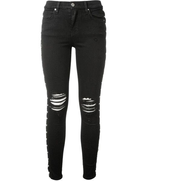 Amiri Slim Black Jean (13.905 NOK) ❤ liked on Polyvore featuring jeans, destroyed skinny jeans, slim ripped jeans, distressed jeans, slim skinny jeans and ripped jeans