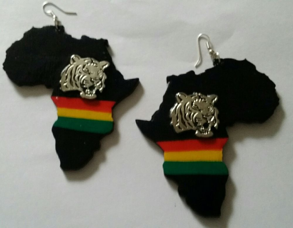 LARGE Rasta colours LionTiger Africa MAP Earrings by BEES