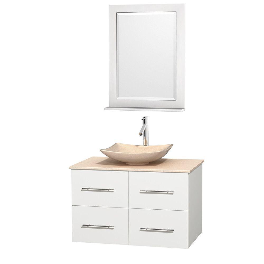 """Centra 36"""" Single Bathroom Vanity Set with Mirror"""
