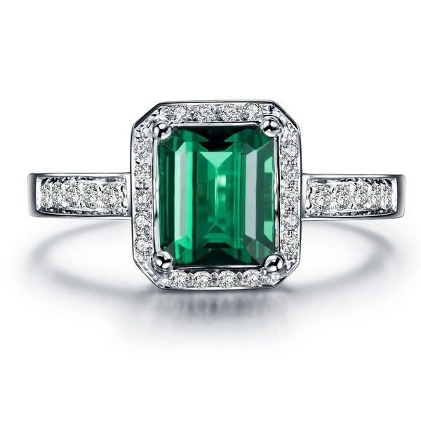 Clic Carat Emerald And Diamond Engagement Ring In White Gold Showcases 1 Green The Center Surrounded With