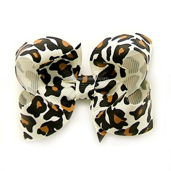 Leopard Hair Bow, Animal Print Hairbow, 3 inch Boutique Bow
