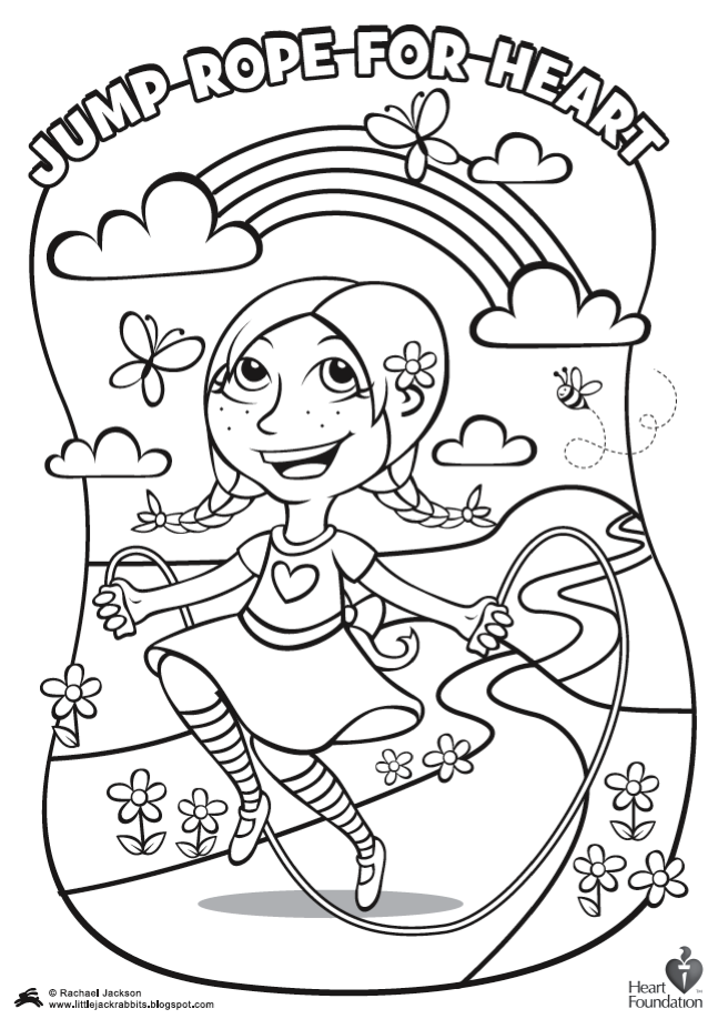 Little Jackrabbits Jump Rope for Heart Coloring pages