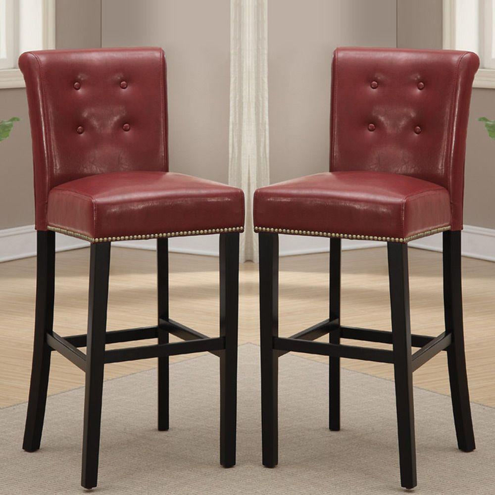 2 Pc Dining High Counter Height Chair Bar Stool 29 H Burgundy Pu