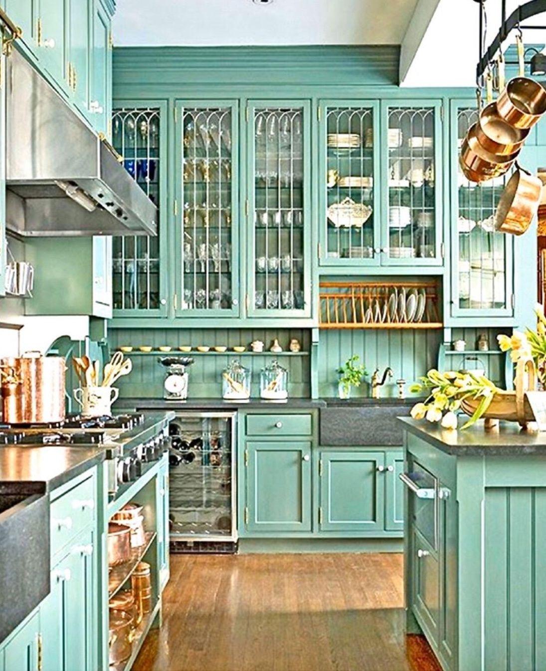Green Kitchen Design In 2020 Glass Fronted Kitchen Cabinets Green Kitchen Cabinets Refacing Kitchen Cabinets