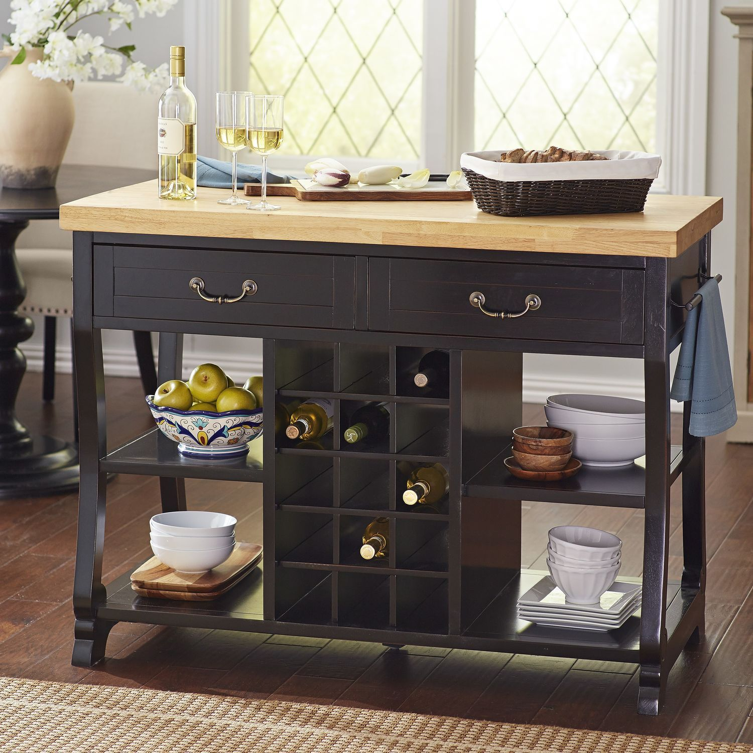 Marchella Kitchen Island - Rubbed Black