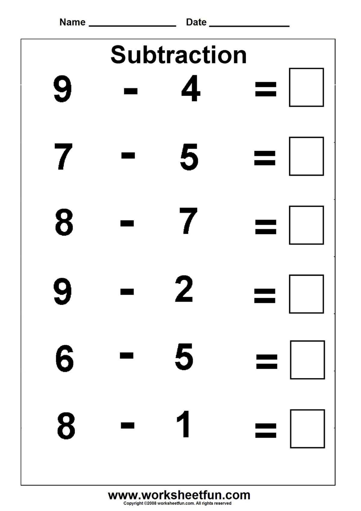 Subtraction Worksheet