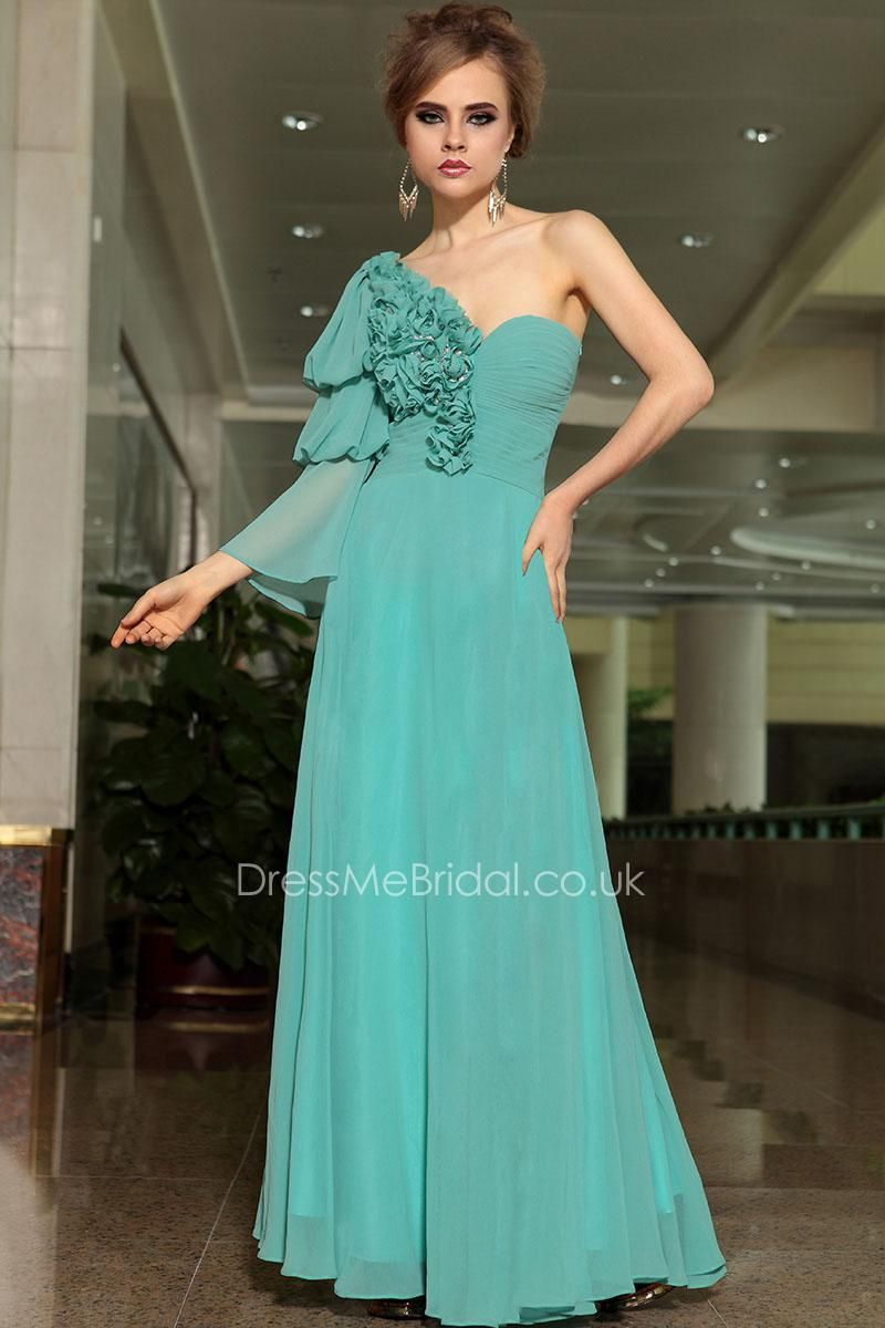 flower bodice one shoulder jade chiffon a-line evening formal dress ...
